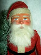 Large Antique German Santa Papermache Candy Container Labeled C.1890 Very Good