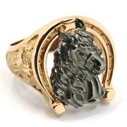Solid 18k Rose Black Gold Band Man Ring Horse Head Herd Horseshoe Finely Worked