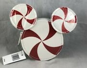 Disney Parks Christmas Holiday Mouse Ears Peppermint Candy Cane Coin Purse Bag