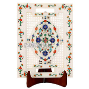 12''x9'' White Marble Dish Plate Inlaid Kitchen Gifts And Free Candle Holder Decor