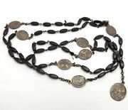 1800s Antique Sterling Silver Seven Dolors Wood Rosary Bead Chaplet