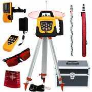 500m Self-leveling Red Laser Level 360 Rotating Rotary W/ Tripod Staff