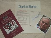 Charlton Heston Autographed Showcard And Photos Really Collectible