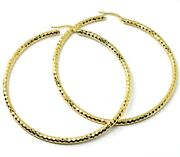 18k Yellow Gold Circle Hoops Tube 3mm, Big Earrings 6.8cm, Shiny Faceted Squares