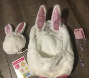 Claireandrsquos Plush Princess Bunny Backpack Jewelry Lot + Justice Stickers Easter