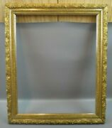 Antique Arts And Crafts Floral Gold Gilt Picture Frame Painting 21 X 25