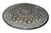 36 Black Marble Center Dining Table Top Mother Of Pearl Floral Inlay Decor B146