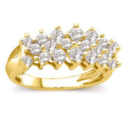 1 Ct Natural Diamond Cluster Pyramid Band In 10k Gold