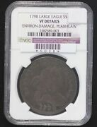 1798 Draped Bust Dollar Ngc Vf-20 Large Eagle Planchet Flaw