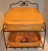 Longerberger Wrought Iron Paper Tapered Tray Bin Baskets And Lid - Rare