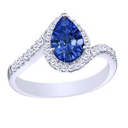 Simulated Sapphire With Natural Diamond Halo Ring 10k White Gold 1.50 Cttw