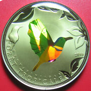 2010 Togo 100 Francs Tropical Green Bird Hologram Prism Proof-like No Silver