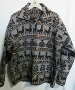 Handmade Alpaca Wool Blend Jacket Ladies Size Large Button Front Gray Brown