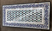 4and039x2and039 White Marble Dining Table Top Abalone Stone Inlay Cafeteria Decor E7691