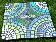 Square Marble Multi Mosaic Stone Coffee Side Table Top Inlaid Garden Decor H3804