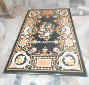 Floral With Traditional Arts Black Marble Dining Table Inlaid Mosaic Decor H3463