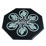 Marble Side Coffee Top Table Marquetry Floral Inlaid Bedroom Antique Decor H3466
