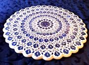 Lapis Floral Stone Marble Coffee Table Top Inlaid Hallway Rare Decoration H4760