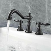 2 Handle 3 Hole Bathroom Faucet Widespread Mixer Tap For Undermounted Sink Black