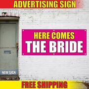 Here Comes The Bride Banner Advertising Vinyl Sign Flag Wedding Just Married Now