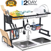Stainless Steel Dish Drying Rack Over Sink Kitchen Hanging Holder Shelf Counter