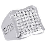 Menand039s 14k White Gold Genuine Diamond Square Pillow Domed Pinky Ring Band 2.13 Ct