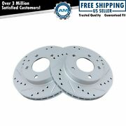 Performance Brake Rotor Drilled Slotted Front Coated Pair For Ford
