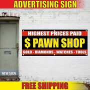 Pawn Shop Banner Advertising Vinyl Sign Flag Gold Watches Highest Prices Cash 24