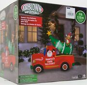 Christmas Gemmy 7 Ft Lights Up Santaand039s Tree Delivery Airblown Inflatable Nib