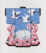 Cranes Over Mt. Fuji Med. Kimono Handpainted Oriental Needlepoint Canvas By Lee