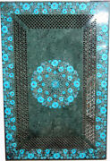 36 X 24 Green Marble Table Top Grill Work Turquoise Stone Handmade Home Decor