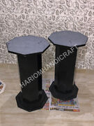 28h 15 Dia Black Marble Base Two Legs Table Top Stand Handmade Decor E581