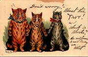 Postcard Raphael Tuck Artist Signed Louis Wain Donand039t Worry Cats 1904 L11