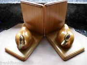 Enesco Solid Wood Book Endand039s Solid Wood Ducks With Solid Brass Heads Nice Cond.
