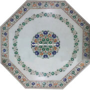 Marble White Table Top Inlay Multi Floral Mosaic Furniture Rare Living Home Gift