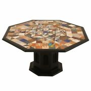 36and039and039 Black Marble Dining Table Mosaic With 28 Stand Inlaid Hallway Decor B264