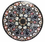42 Round Black Marble Dining / Sofa Center Table Top Home Decor