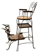 Antique Original Twisted Wire Tall Grand Shoe Shine Chair Stand Royal Chicago