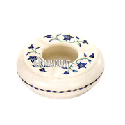 4 Italian Marble Smoking Ashtray Lapis Floral Stone Inlaid Gifts For Men H3657