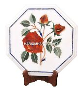 White Marble Coffee Side Table Top Rare Mosaic Inlaid Floral Patio Decor H1978
