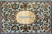 Marble Top Exclusive Table Antique Marquetry Inlay Occasional Garden Decor H3867
