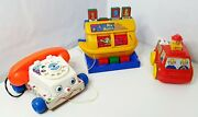 Vintage Fisher Price Chatter Phone Pull 1961original 747 And Tomy 1989 Mix'n Match