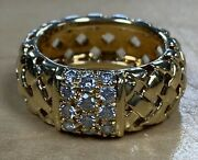 And Co. 18k Yellow Gold Weave Diamond Ring Sz 6 Authentic Preowned Bin