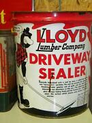 Old Lloyd Lumber Company Driveway Sealer Motor Oil Gas Can With Graphics 5 Gal