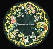 Green Marble Console Table Top With Floral Collectible Inlay Rare Decorate H5309