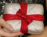 Judith Leiber Crystal All Wrapped Up Gift Minaudiere Clutch Red Bow
