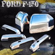 For 15-17 Ford F150 Chrome 4 Door Handle Side Mirror Cover Combo Overlay Trim