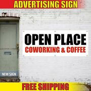 Coworking Coffee Banner Advertising Vinyl Sign Flag Open Place Area Space Free