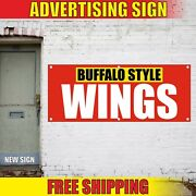 Buffalo Style Wings Banner Advertising Vinyl Sign Flag Bbq Grill Hot Chili Dogs