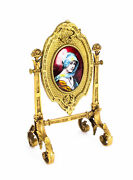Antique French Ormolu And Limoges Enamel Table Mirror F.bienvue 19th C